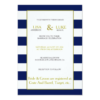 Navy & White Stripe Nautical Wedding Invitation