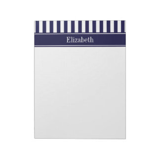 Navy White Stripe Navy Blue Ribbon Name Monogram Notepad