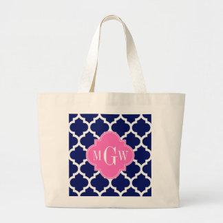 Navy Wht Moroccan #5 Hot Pink2 3 Initial Monogram Large Tote Bag