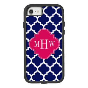 Navy Wht Moroccan #5 Raspberry 3 Initial Monogram Case-Mate Tough Extreme iPhone 8/7 Case