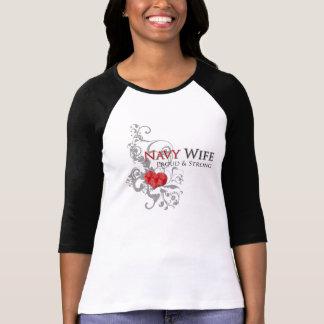 Navy Wife Floral Swirls Light T-Shirt