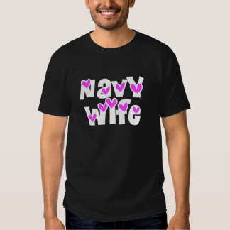 Navy Wife Pink Hearts Shirts