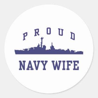 Navy Wife Round Sticker