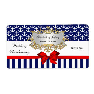 Navy Wt Anchor Stripe Red Bow Party Wine Label