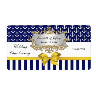 Navy Wt Anchor Stripe Yellow Bow Party Wine Label Shipping Label