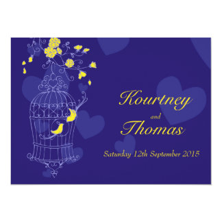 Navy & yellow birds open cage wedding invitation