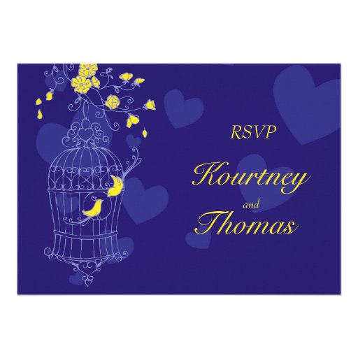 Navy yellow birds open cage wedding RSVP Invite