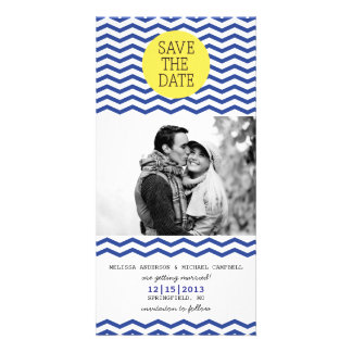 Navy & Yellow Save The Date Photo Picture Card