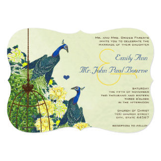 Navy & Yellow Vintage Peacock Bird Cage Wedding 13 Cm X 18 Cm Invitation Card