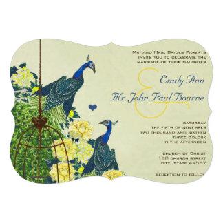 Navy & Yellow Vintage Peacock Bird Cage Wedding Invitations