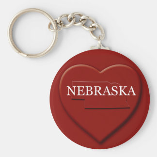 Nebraska  Heart Map Keychain