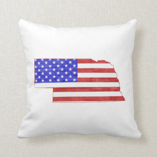 Nebraska USA flag silhouette state map Cushion