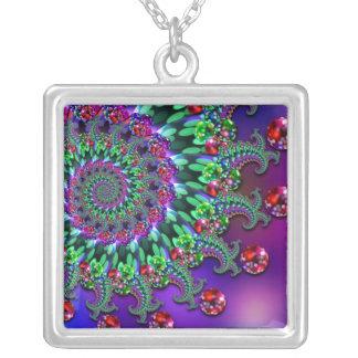 Necklace - Bokeh Fractal Purple Terquoise