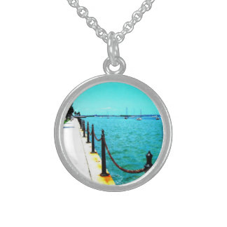 Necklace silver, round