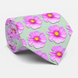 Necktie - Bi-Color Cosmos on Pale Green