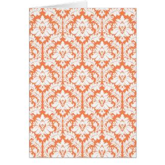 Nectarine Orange Damask Cards