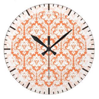 Nectarine Orange Damask Clocks