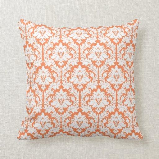 Nectarine Orange Damask Throw Pillow
