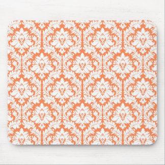 Nectarine Orange Damask Mouse Pads