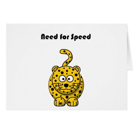 Need for Speed Cheetah Cartoon Greeting Cards