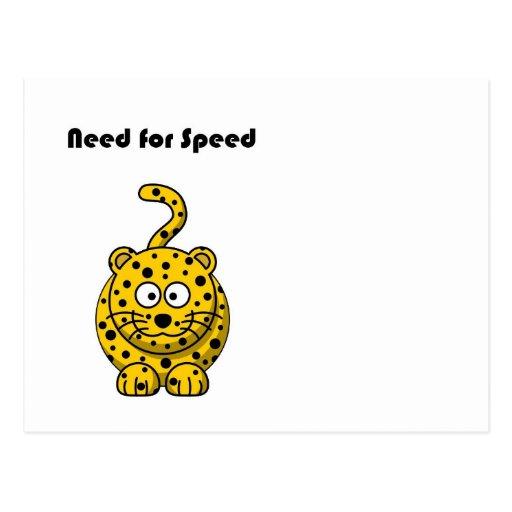 Need for Speed Cheetah Cartoon Postcards