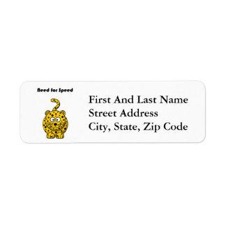 Need for Speed Cheetah Cartoon Return Address Label
