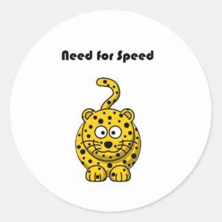 Need for Speed Cheetah Cartoon Round Sticker