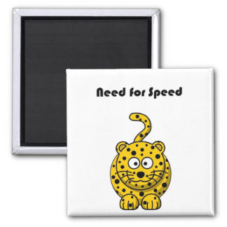 Need for Speed Cheetah Cartoon Square Magnet