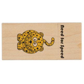 Need for Speed Cheetah Cartoon Wood USB 2.0 Flash Drive
