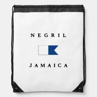 Negril Jamaica Alpha Dive Flag Drawstring Bag