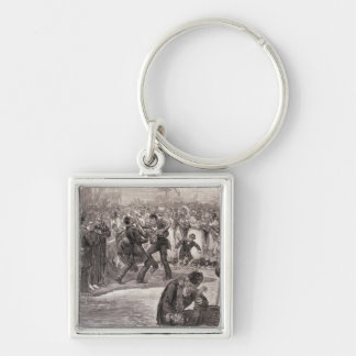 Negro Baptism in the United States Silver-Colored Square Key Ring