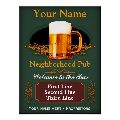 Neighborhood Pub Sign (Personalized) Posters