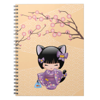 Neko Kokeshi Doll - Cat Ears Geisha Girl Spiral Notebook