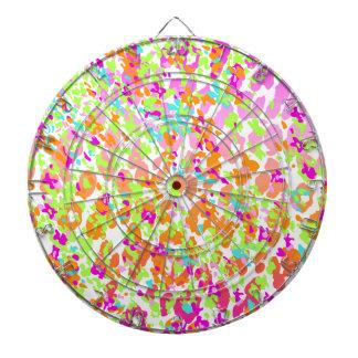 Neon animal cheetah rainbow print dartboard