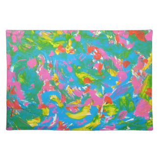 Neon Bloom-Abstract Art Brushstrokes Hand Painted Placemat