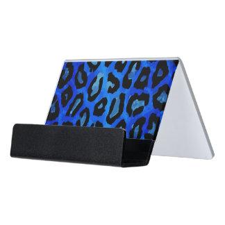 Neon Blue Cheetah Vector Desk Business Card Holder