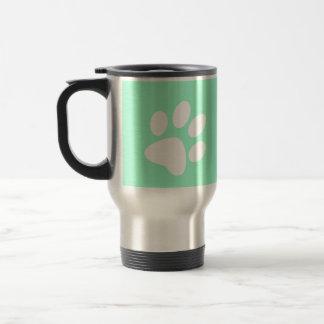 neon bright blue green teal paw print coffee mugs