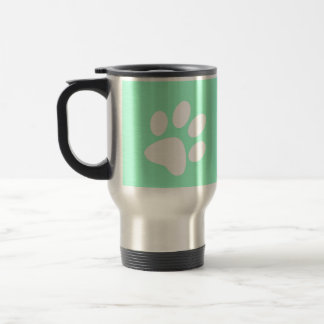 neon bright blue green teal paw print travel mug