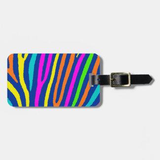 Neon bright colors zebra stripes luggage tag