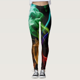 Neon Bright Smoky Print on Black Leggings