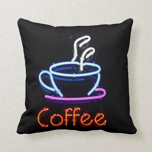 Neon Coffee Sign on Black Throw Pillows