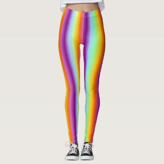 neon colored striped leggings