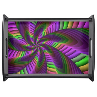 Neon Colors Flash Crazy Colorful Fractal Pattern Serving Tray
