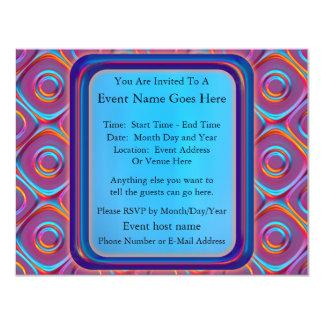 "Neon Cubism 4.25"" X 5.5"" Invitation Card"