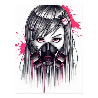 Neon Gas Mask Girl Postcard