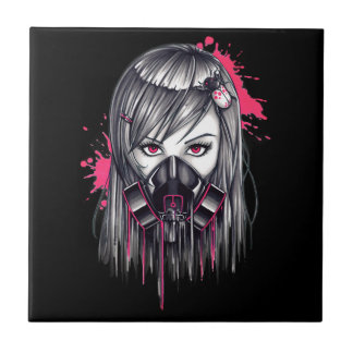 Neon Gas Mask Girl Small Square Tile