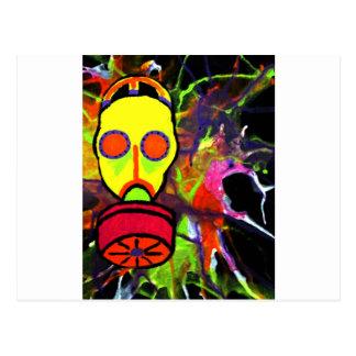 Neon gas mask painting series postcard