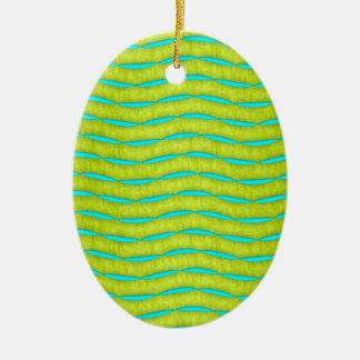Neon Glow Yellow and Turquoise Bright Fun Pattern Christmas Ornament