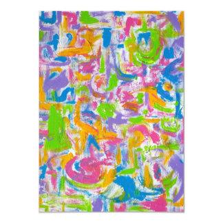 Neon Graffiti-Abstract Art Handpainted 11 Cm X 16 Cm Invitation Card