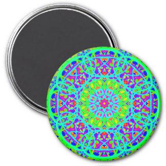 Neon Green and Purple Mandala Style Magnet